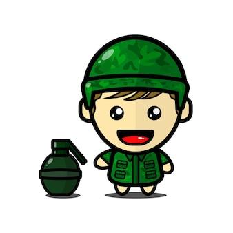 Illustrazione sveglia del soldato del ragazzo con la granata vettore premium
