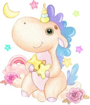 Illustrazione sveglia dell'unicorno del fumetto che si siede su una nuvola con stelle e fiori dipinti ad acquerello