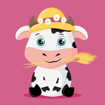 Illustrazione sveglia di una mucca con il suo cappello di paglia pronto per la primavera
