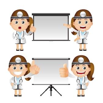 Illustrazione sveglia dei personaggi del dottore