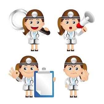 Illustrazione sveglia del medico con vari oggetti