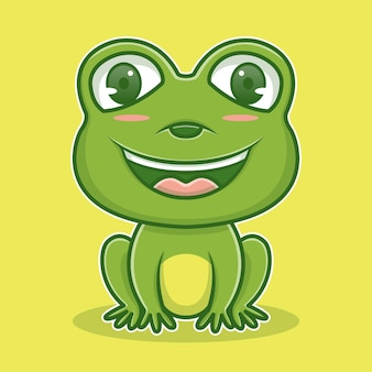 Simpatica illustrazione del personaggio della rana icona