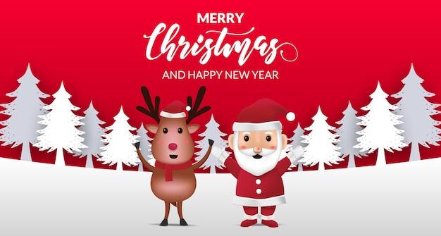Illustrazione sveglia renna e babbo natale per buon natale e felice anno nuovo per biglietto di auguri per bambini