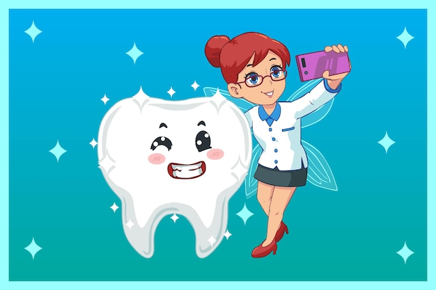Illustrazione sveglia, selfie di fatina dei denti con denti luminosi Vettore Premium