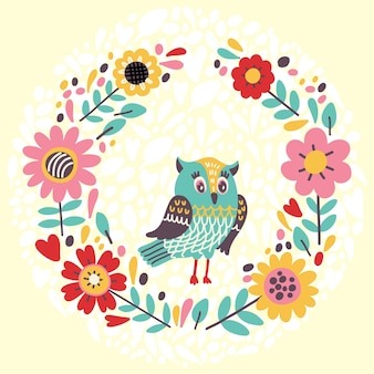 Illustrazione carina con ghirlanda floreale e gufo. illustrazione