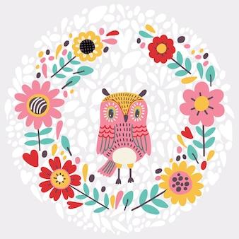 Illustrazione carina con ghirlanda floreale e gufo. Vettore Premium