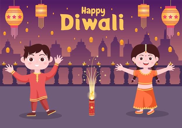 Bambini indiani carini che celebrano il giorno del diwali con lanterne, fuochi d'artificio e mandala o arte di rangoli con l'illustrazione vettoriale di sfondo festival delle luci
