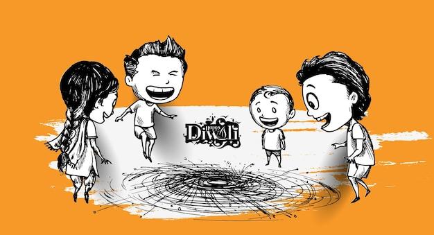Bambini indiani carini che si godono il petardo che celebra diwali, illustrazione vettoriale di schizzo disegnato a mano.