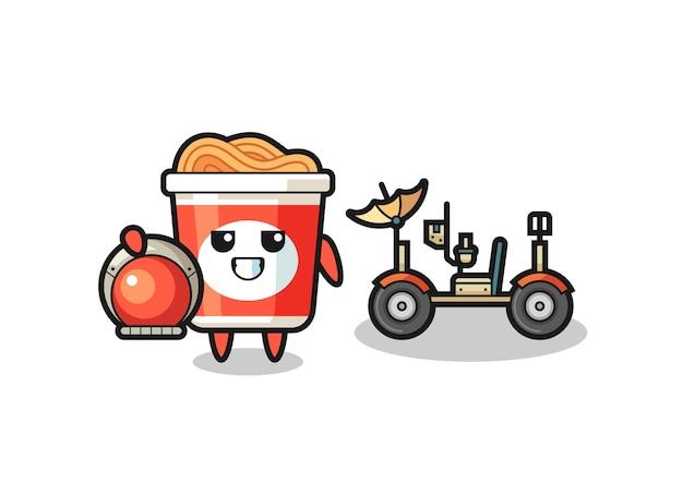 Il simpatico noodle istantaneo come astronauta con un rover lunare, design in stile carino per maglietta, adesivo, elemento logo