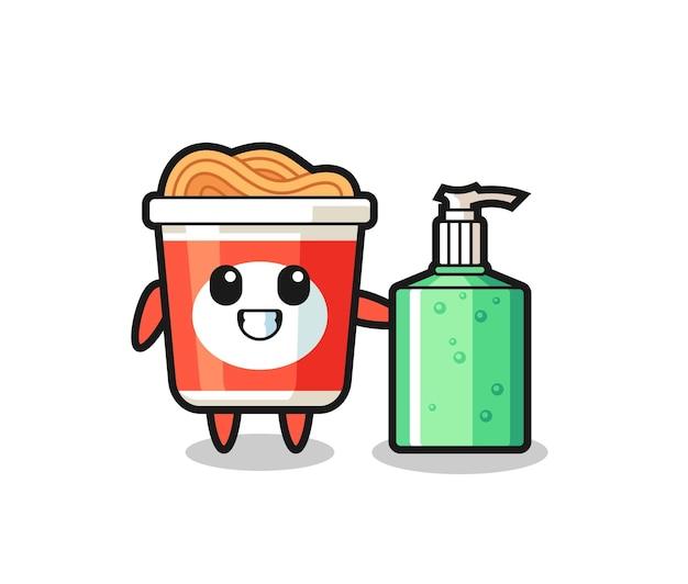 Simpatico cartone animato di spaghetti istantanei con disinfettante per le mani, design in stile carino per maglietta, adesivo, elemento logo
