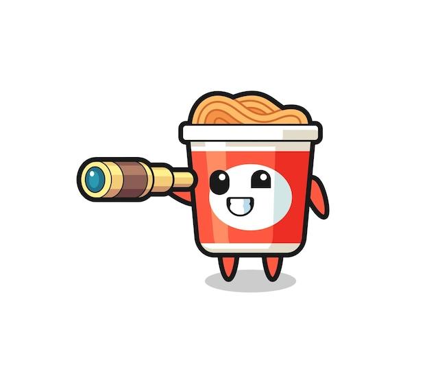 Il simpatico personaggio di noodle istantaneo tiene in mano un vecchio telescopio, un design in stile carino per maglietta, adesivo, elemento logo