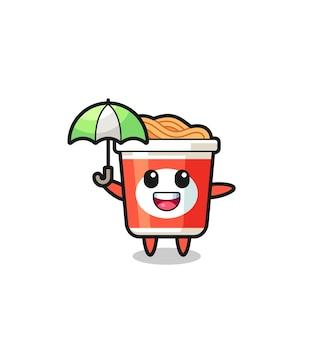 Simpatica illustrazione di noodle istantanei con in mano un ombrello, design in stile carino per maglietta, adesivo, elemento logo