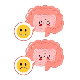 Simpatico organo intestinale con faccia triste e felice