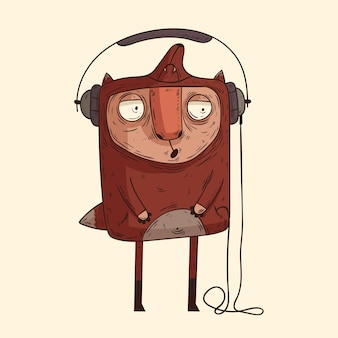 Simpatico amante della musica allegro isolato