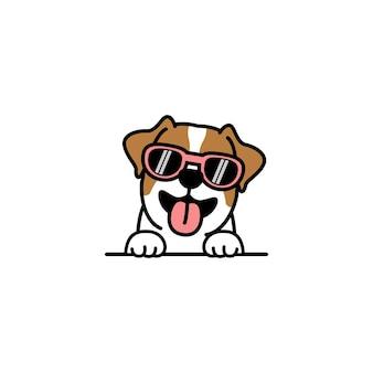 Simpatico cane jack russell terrier con occhiali da sole cartone animato, illustrazione vettoriale