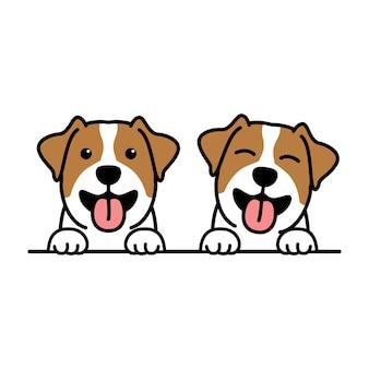 Simpatico cartone animato di cucciolo di jack russell terrier, illustrazione vettoriale