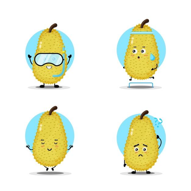 Simpatica collezione di personaggi jackfruit