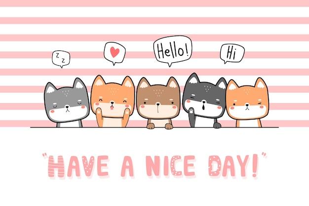 Simpatici amici giapponesi del cane shiba inu che salutano la carta di design piatto di doodle del fumetto