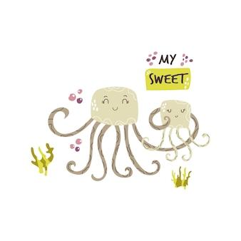 Famiglia di meduse carina. disegno del fumetto del bambino. stampa d'arte della scuola materna. illustrazione vettoriale.
