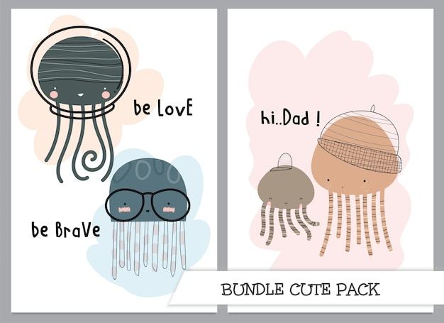 Illustrazione di meduse carina sotto il set di mare