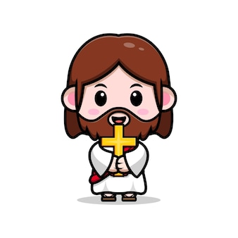 Simpatico gesù cristo che tiene un'illustrazione cristiana del fumetto vettoriale croce cross