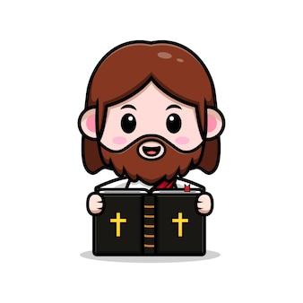 Simpatico gesù cristo che legge l'illustrazione cristiana del fumetto di vettore della bibbia