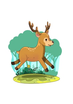 Cute_jumping_deer_illustration