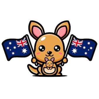 Simpatico canguro che tiene una bandiera australiana