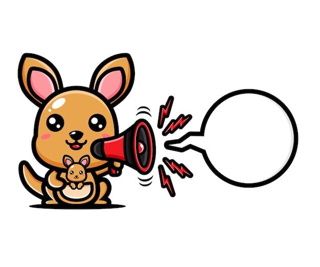 Simpatico canguro che tiene il megafono