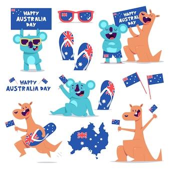 Simpatici personaggi di canguro e koala isolati su bianco
