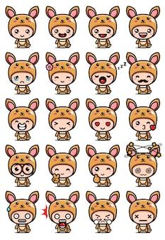 Simpatici set di mascotte canguro