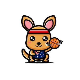 Simpatico canguro che gioca a basket