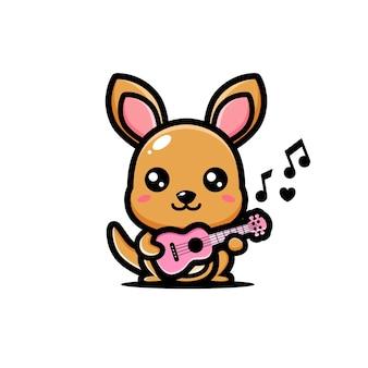 Simpatico canguro che suona l'ukulele