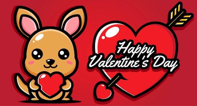 Simpatico canguro con auguri di buon san valentino Vettore Premium