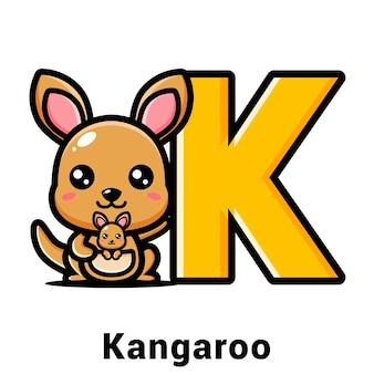 Simpatico canguro con la lettera k