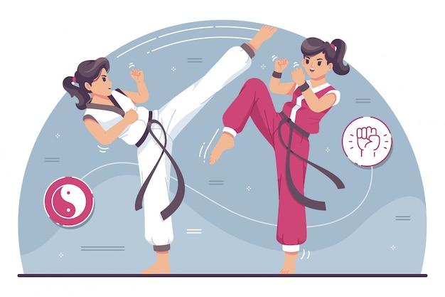 Illustrazione di carattere simpatici combattenti di karate