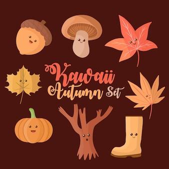 Cute kawaii autumn clipart collection