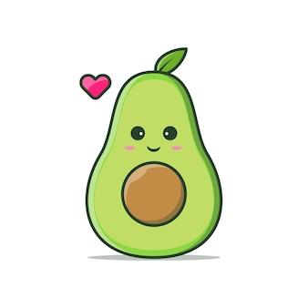 Simpatico avocado kawaii con illustrazione vettoriale di espressione di sorriso