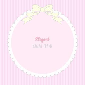Carino kawaii baby girl cute frame con motivo a strisce senza soluzione di continuità