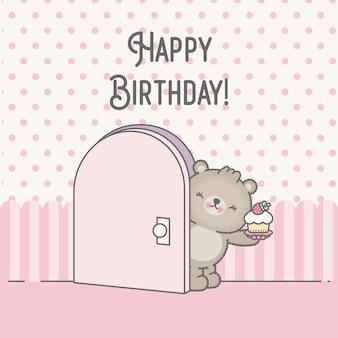 Simpatico orso di carta di compleanno kawaii