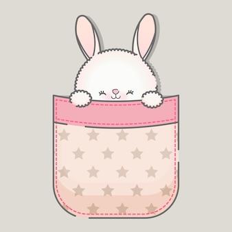 Simpatico coniglietto kawaii seduto dentro la tasca