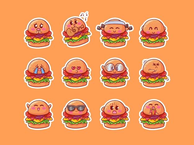 Cute kawaii burger character stickers illustrazione con varie attività di espressione felice per mascotte
