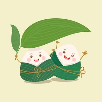Simpatici e kawaii personaggi zongzi di gnocchi di riso appiccicoso cinese con ombrello in foglia di bambù