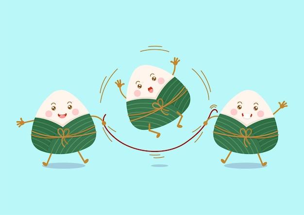 Gnocchi di riso appiccicoso cinese carino e kawaii personaggi dei cartoni animati di zongzi giocano a saltare la veste