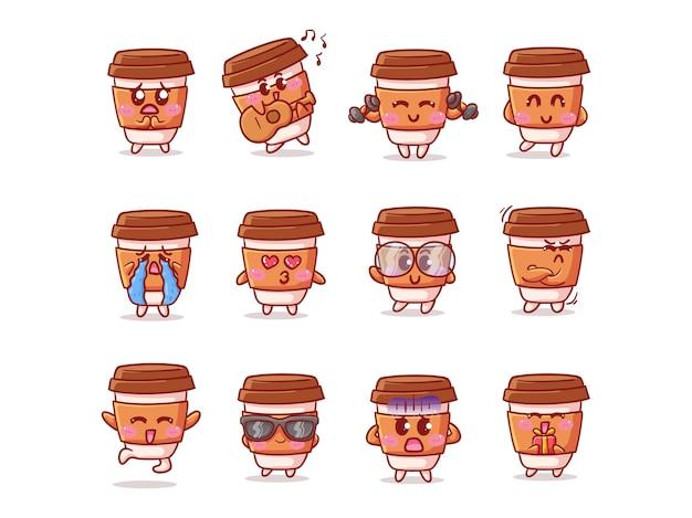 Illustrazione dell'autoadesivo della tazza di caffè carino e kawaii con varie attività ed espressioni per la mascotte