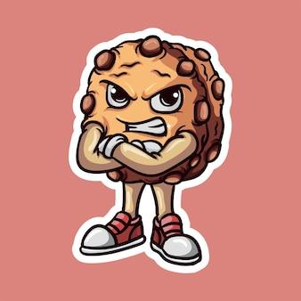 Simpatici biscotti kawaii con chips di cioccolato arrabbiato ekpresion