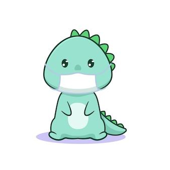 Simpatico dinosauro kawaii indossa una maschera per il viso