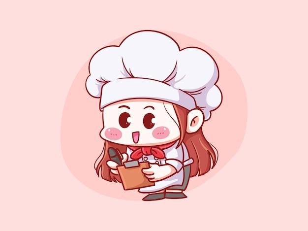 Chef femminile carino e kawaii scrive ordine o menu manga chibi illustrazione