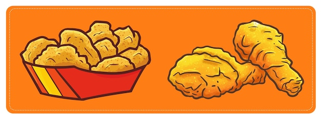 Pepita di pollo fritto carino e kawaii e cosce di pollo fritte