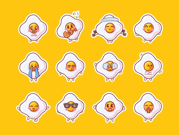 Illustrazione degli autoadesivi del carattere dell'uovo fritto di kawaii sveglio con la varia mascotte di attività di espressione felice